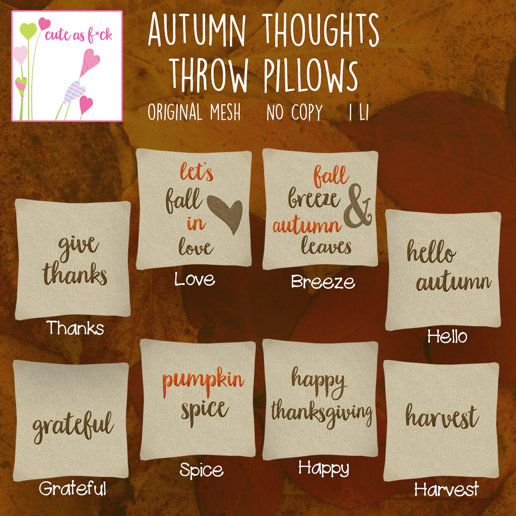 Autumn Thoughts Throw Pillow Gacha Key - SecondLifeHub.com
