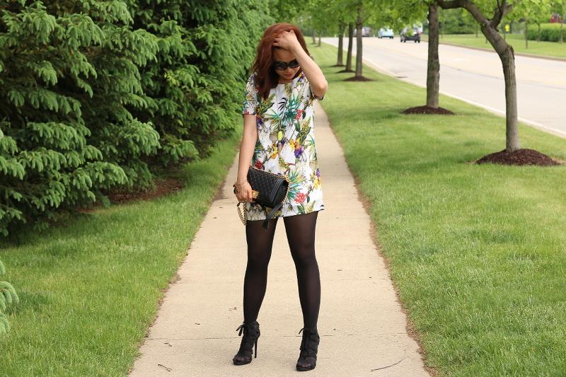 Botanical-print-dress-black-tights-chanel-bag