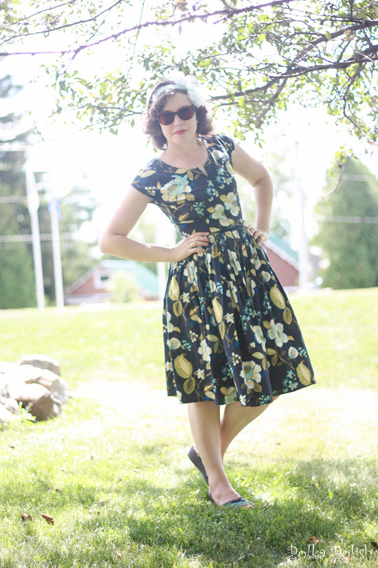 1950s Vintage inspired summer outfit featuring a handmade two piece dress in shades of blue