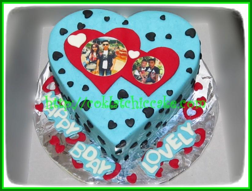 Cake heart dengan foto