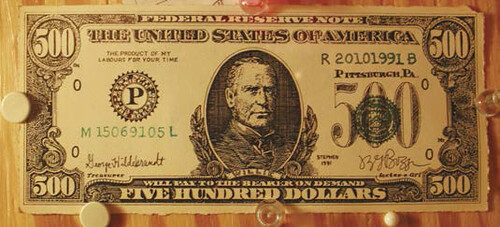 Lot 624 JSG Boggs 500 dollar note