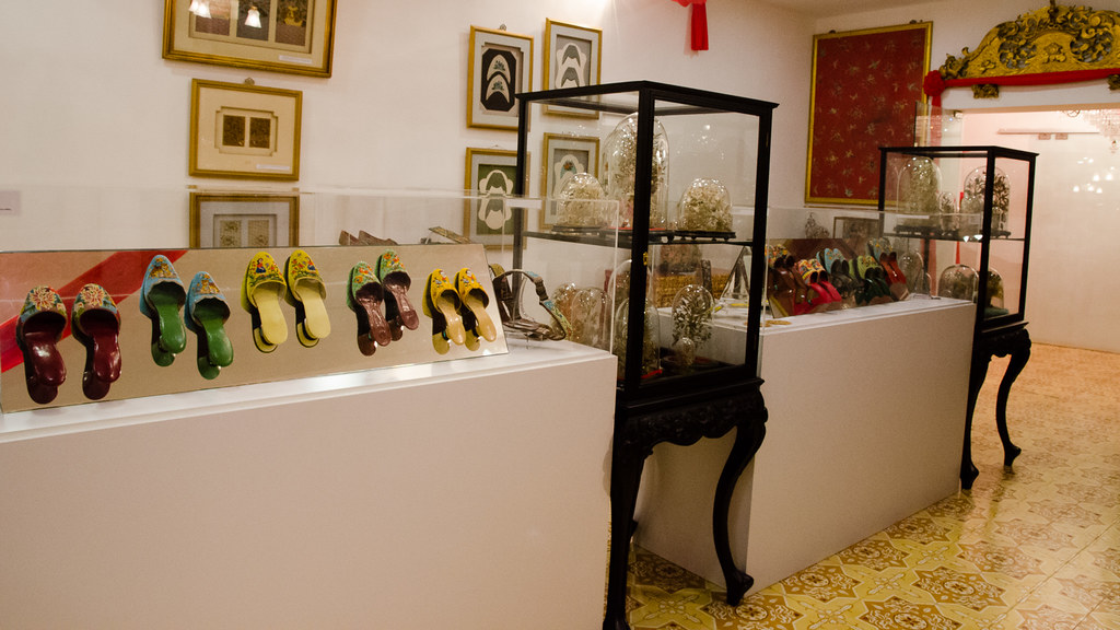 Vintage shoes and Victorian Glass Domes show room.
