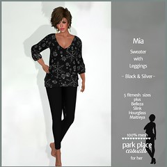 [PP Casuals] Mia Fall Sweater and Leggings - Black and Silver
