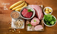 Foods Highest in Vitamin B6 on wooden table.
