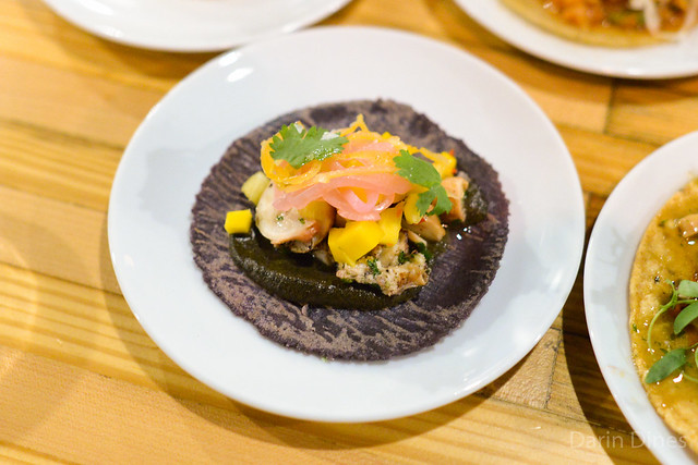 grilled octopus taco with pineapple, mango, habanero, charred onion salsa (Hollingsworth)