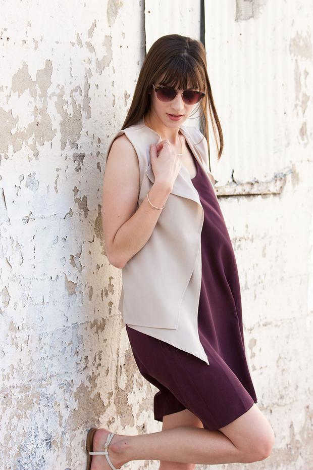 Nude Asymmetrical Vest, Maroon Silk Dress, Everlane Dress