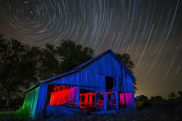RGB Barn Star Trails