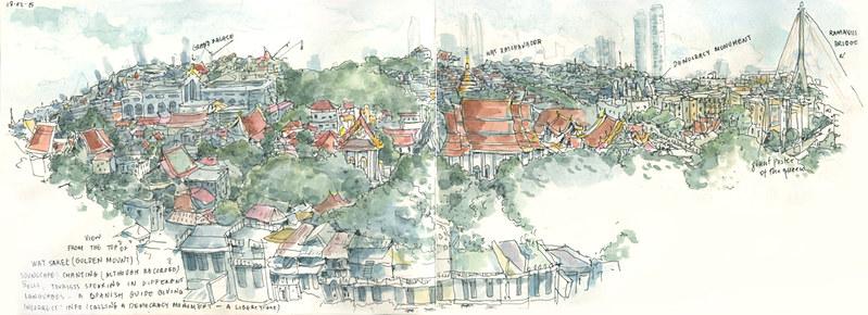 Bangkok aerial from Wat Saket