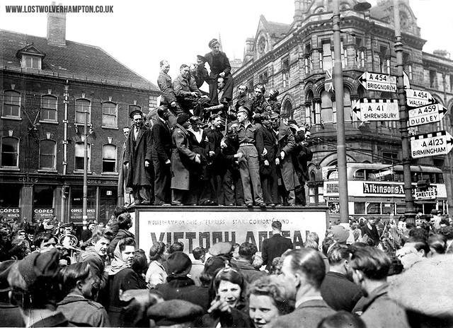 VE Day merry-makers in Queen Square May 1945.