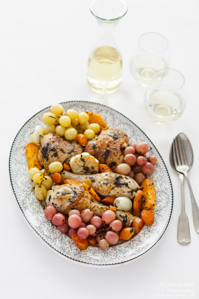 Wine Braised Herb Chicken with roasted grapes (0062) by Meeta K Wolff