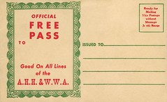 Official Free Pass Good on All Lines of the A.H.H. & W.W.A.