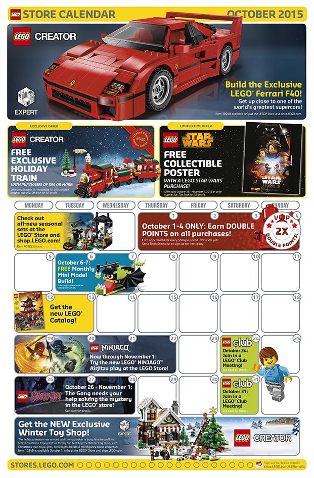 LEGO Shop October 2015 Calendar