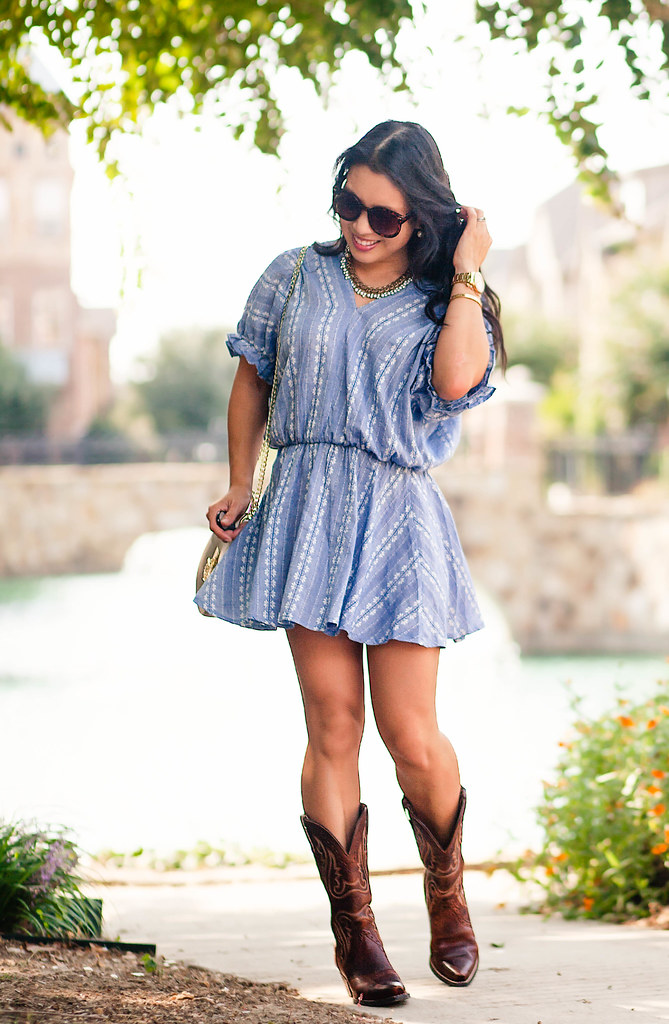 cute & little blog | petite fashion | chambray embroidered dress, ariat cowboy boots, chloe drew crossbody | summer fall transition outfit