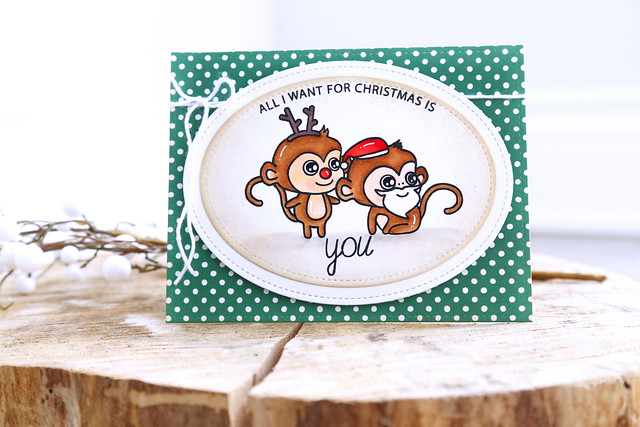 Santa and Rudolph {waffleflower stamps}