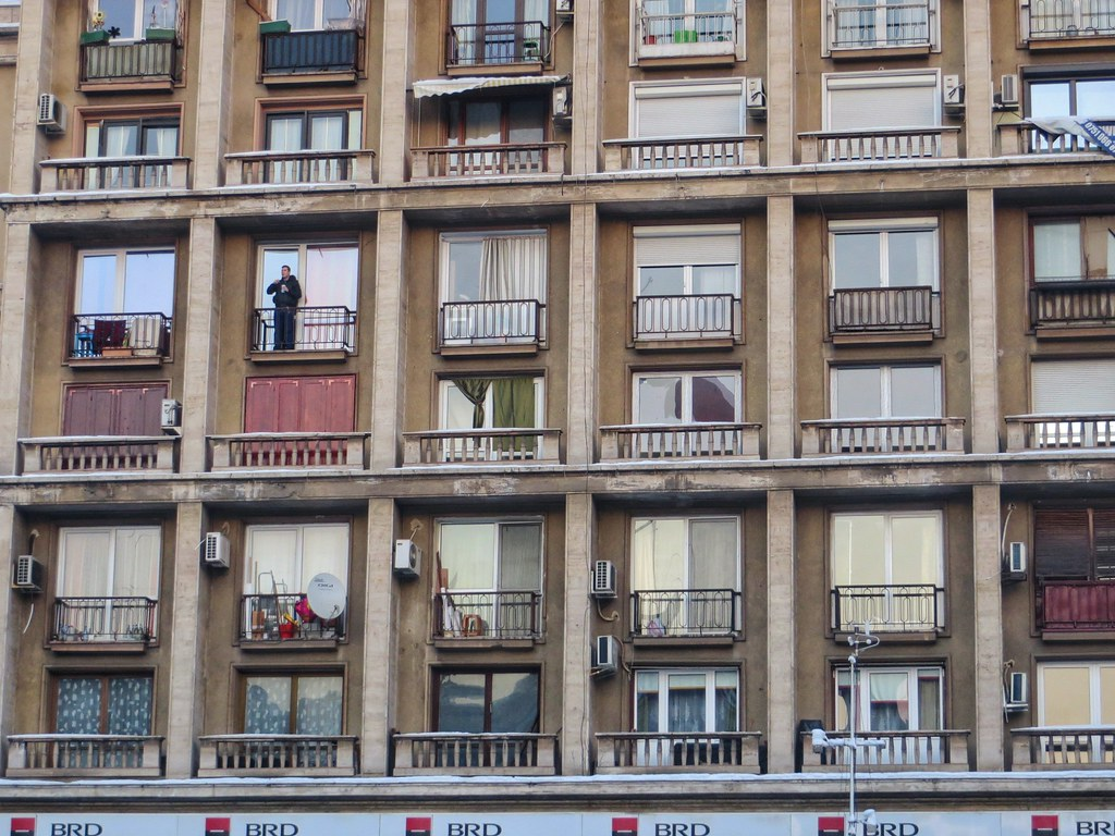 Balconies of a Bucharest apartment block