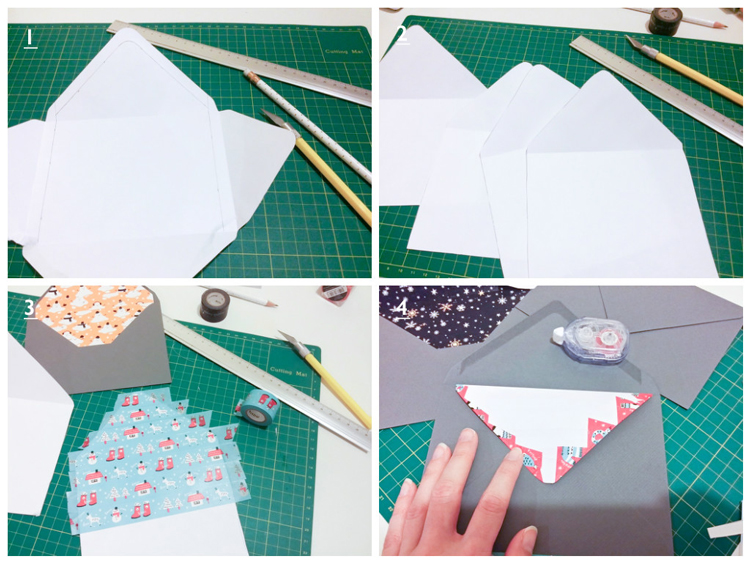 diy christmas envelope liner steps