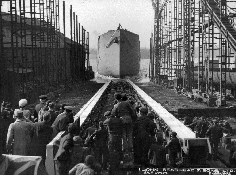 Launch of the cargo ship 'Empire Clough'