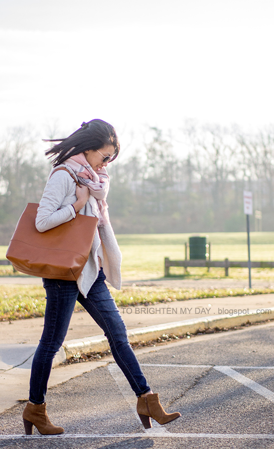 pink striped blanket scarf, sherpa lined open cardigan sweater, plum tee, jeans, cognac brown tote, brown suede ankle boots