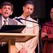 Rep. Prasad Srinivasan (Glastonbury) addresses an audience during a performance based on Indian mythology at the Bushnell Performance Arts Center, Oct. 2015.