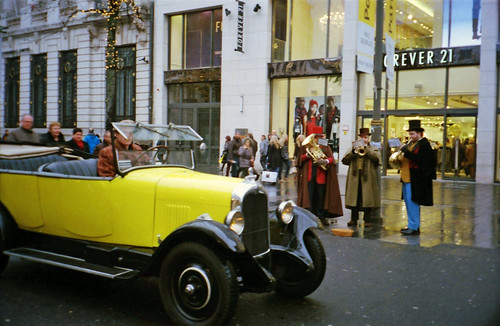 Old timer and Christmas carolers
