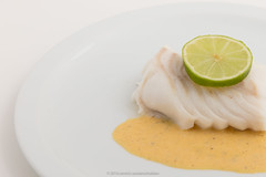Steamed cod with lemon sauce.