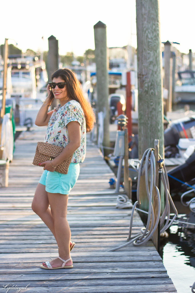 floral blouse, turquoise shorts, jeweled sandals-2.jpg