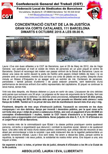 CGT LAURA EVA CONCENTRACIO CIUTAT DE LA JUSTICIA