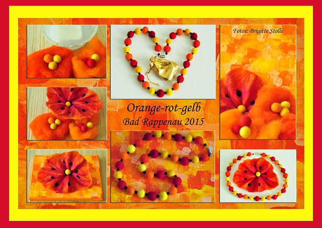 Filz filzen Filztechnik Filzkugeln Filzkette Filzblüte Acrylmalerei orange rot gelb Foto Brigitte Stolle September 2015