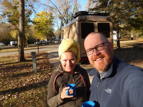 Decorah campground - koffie bij 1 graad