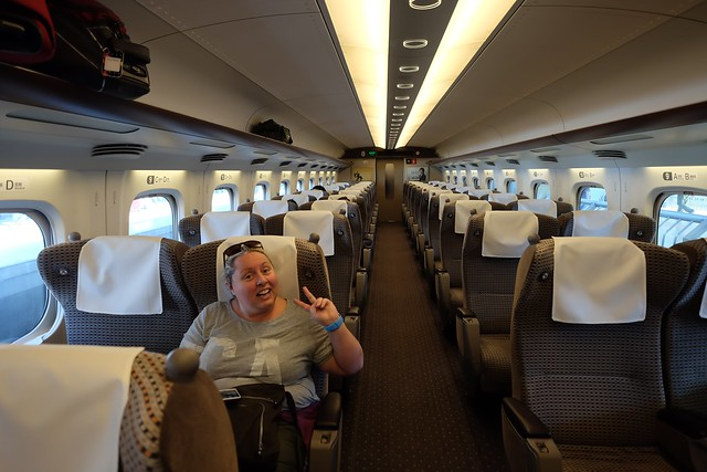 Claire on the shinkansen