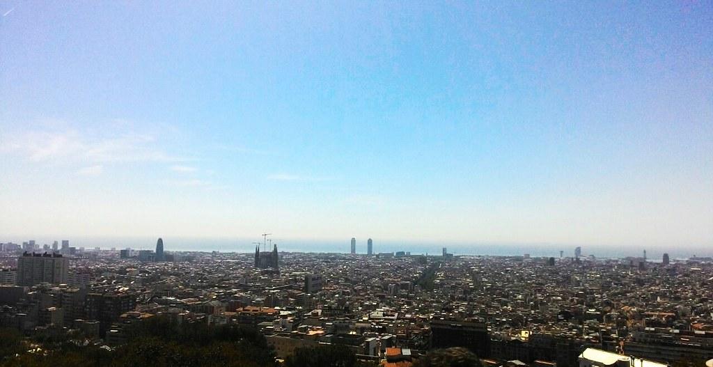 Park Güell - Vista sul mare e sulla pianura di Barcellona