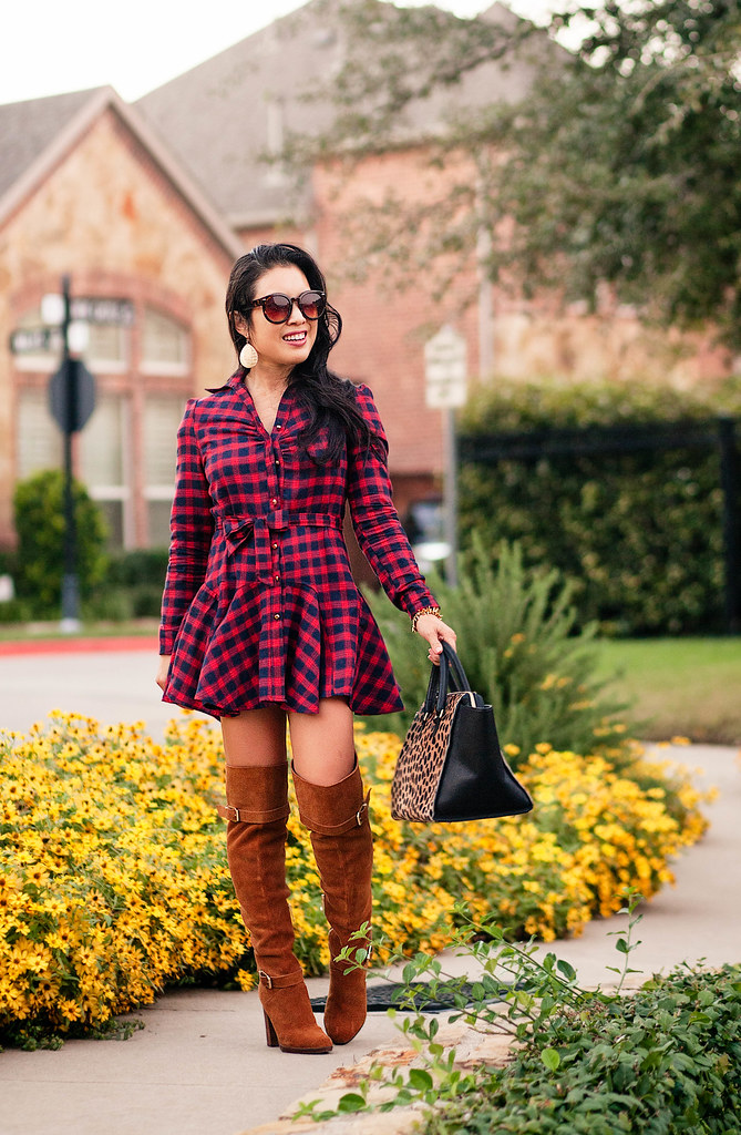 cute & little blog   petite fashion   red plaid dress, suede over the knee boots, leopard satchel   fall outfit