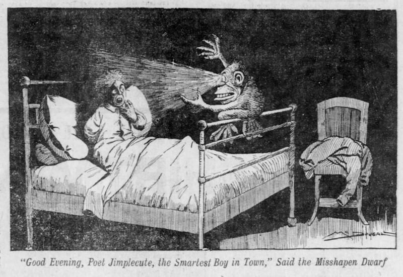 "Walt McDougall - The Salt Lake herald., June 08, 1902, ""Good Evening, Poet Jimplecute, the Smartest Boy in Town,"" Said the Misshapen Dwarf"