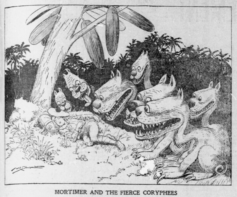 Walt McDougall - The Salt Lake herald., April 13, 1902, Mortimer And The Fierce Coryphees