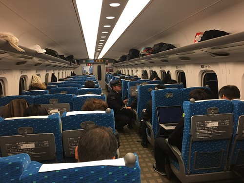 riding on the shinkansen bullet train