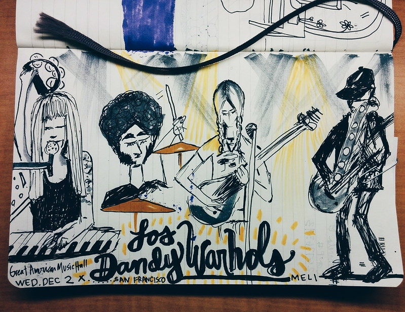 i made a little drawing from last nite's show de los dandy warhols ×