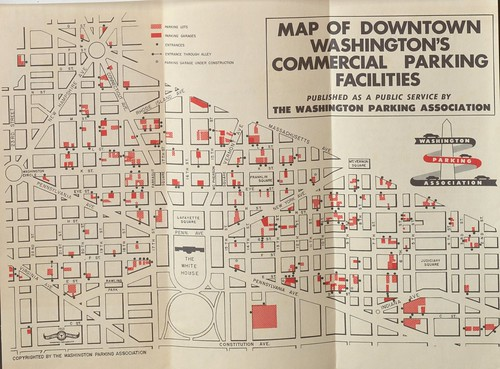 DC, Washington Parking Association parking brochure, map, inside,1953
