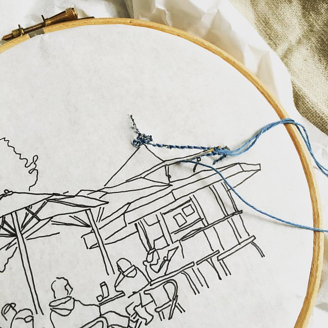 This is what my #embroidery project for the #airembroideryclub looks like after stitching for a while. It's weird, but appears to be working.