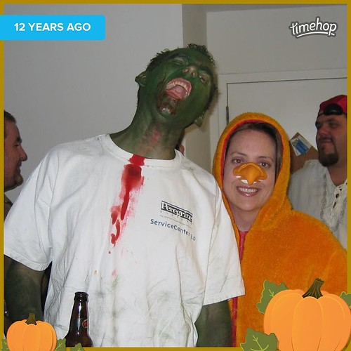The zombie and the duck. Years ago. #halloween #zombie #duck #timehop