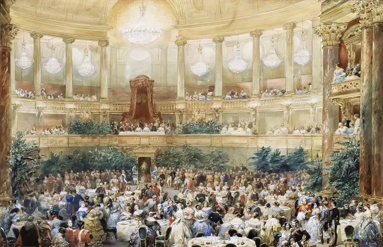 Visit of Queen Victoria to Paris in 1855, the dinner offered by Napoleon III in the hall of the Opera of Versailles, August 25, 1855