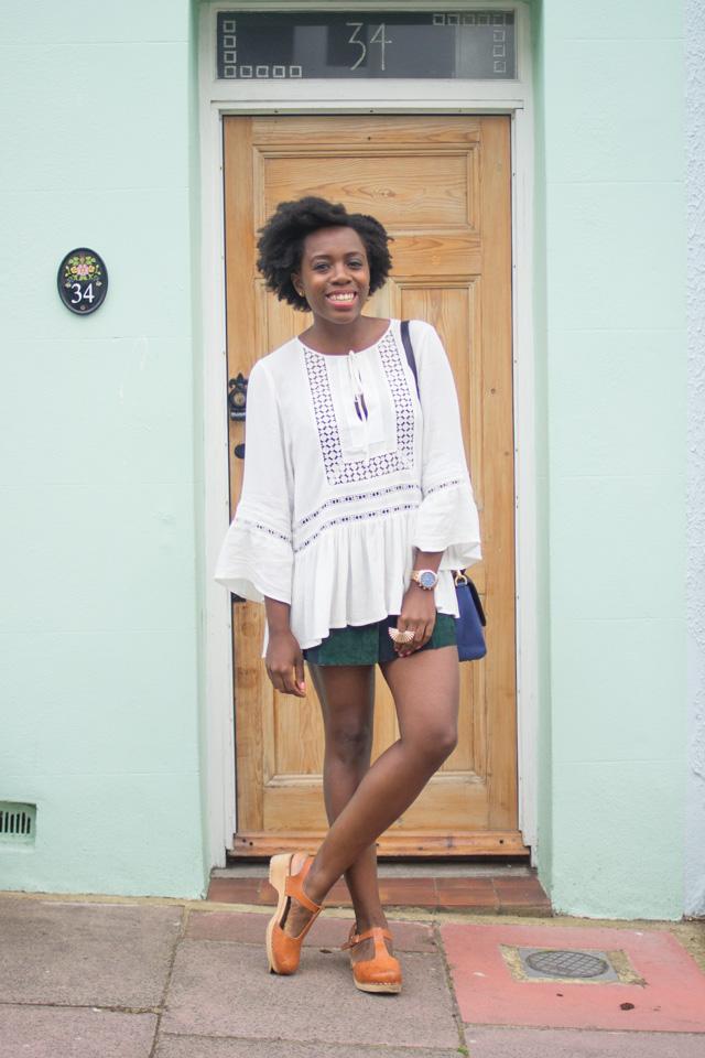 H&M lace crepe blouse