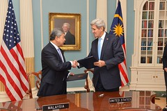 Secretary Kerry meets with Malaysian Deputy Prime Minister Ahmad Zahid Hamidi, at the U.S. Department of State, in Washington, D.C. on October 8, 2015. [State Department Photo/Public Domain]