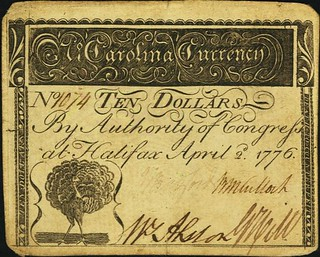 Lot 18947 North Carolina April 2, 1776 $10 Peacock