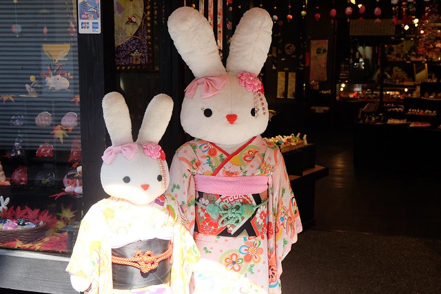 Rabbits dressed in japanese clothing