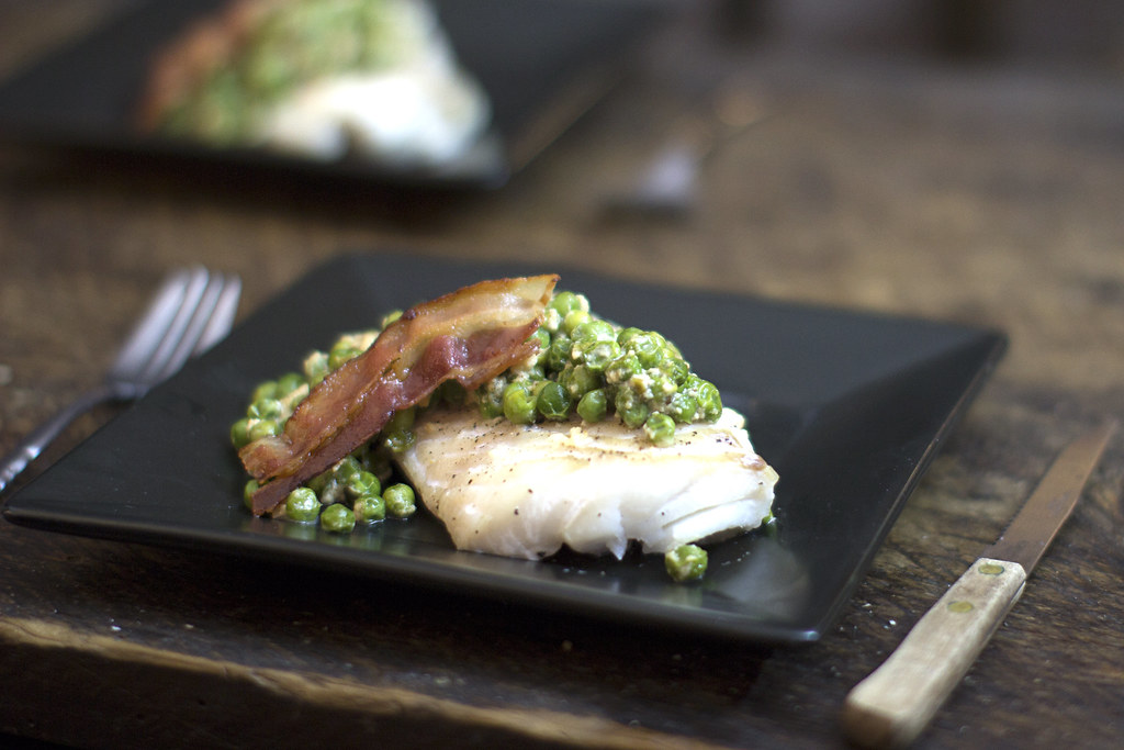 Baked Cod with Bacon & Pea Cream Sauce