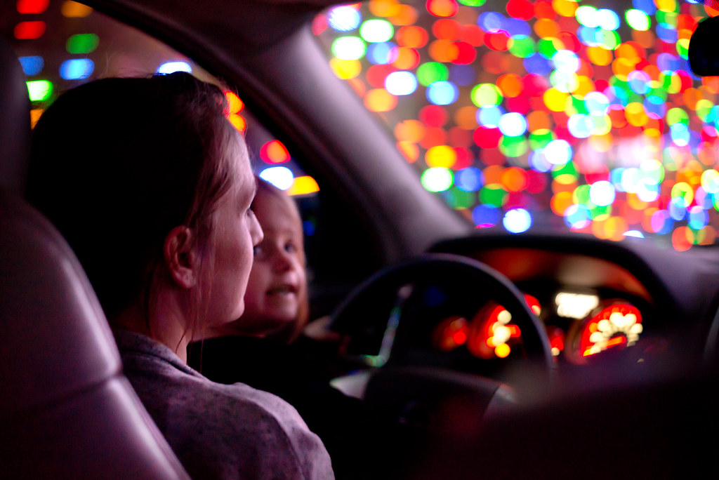 Amelia Driving Us Through the Christmas Lights