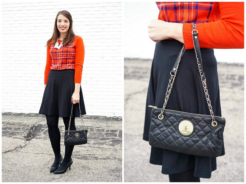 red plaid sweater + black skirt + black tights
