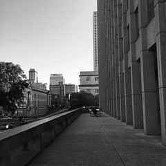 N. Main St., as seen from Civic Center Plaza.  #memphis #memphistn #downtownmemphis #tennessee #architecture #bw #blackandwhitephotography #blackandwhite #brutalist #brutalism