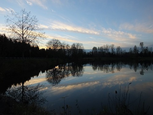 cloud pond reflection silhouette sky sunset symmetry water