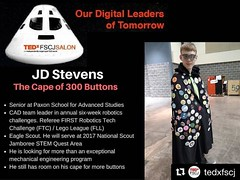 "#NorthFloridaScouting ==> JD is an Eagle Scout and #2017Jambo #STEM staffer. #Repost @tedxfscj ・・・ JD will talk about ""The Cape of 300 Buttons"". For every button there is a skill he has acquired or a lesson he has learned. Machines, Solidworks, robots, te"